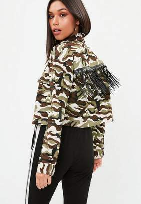 Missguided Green Camo Cropped Fringe Jacket