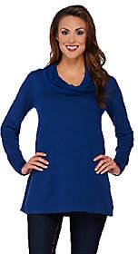 Susan Graver Rayon Nylon Sweater with CrinkleChiffonCowlNeck