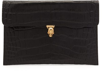 Alexander McQueen Skull Crocodile Embossed Leather Envelope Pouch - Womens - Black
