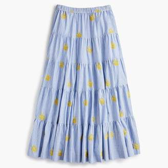 J.Crew Embroidered pineapple midi skirt