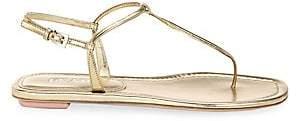 Prada Women's Flat Metallic Leather Thong Sandals