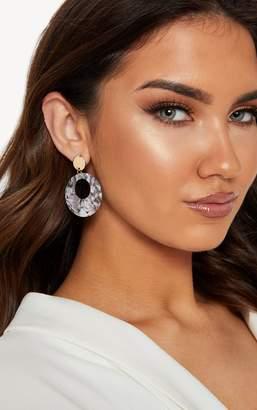 PrettyLittleThing Grey Resin Hoop Drop Earrings