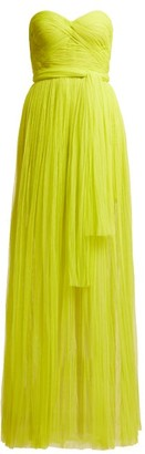 Maria Lucia Hohan Tiara Pleated Bustier Dress - Womens - Green