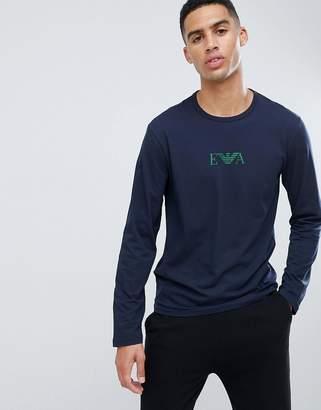 Emporio Armani Eva eagle logo long-sleeve lounge t-shirt in navy