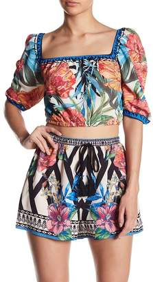 Flying Tomato Patterned Square Neck Blouse