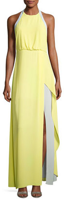 BCBGMAXAZRIA Camillia Halter-Neck Colorblocked Dress, Yellow $298 thestylecure.com