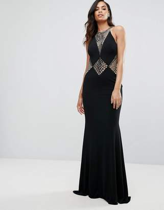 Jovani Fishtail Maxi Dress With Cut Out Lace Detail