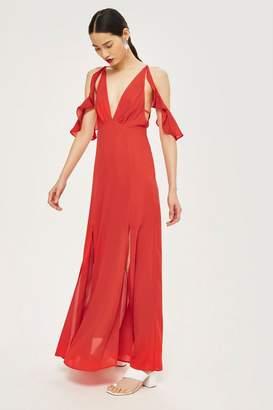 Topshop Frill Cold Shoulder Maxi Dress