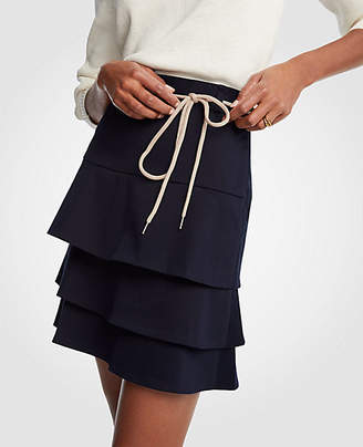 Ann Taylor Petite Tiered Tie A-Line Skirt