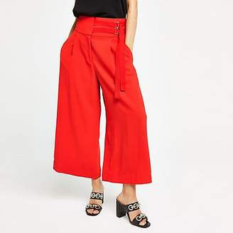 River Island Red tie cropped wide leg trousers
