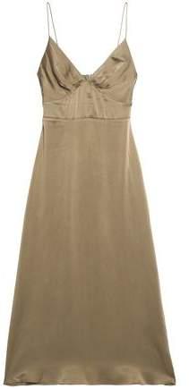 Fluted Washed Silk-Satin Midi Slip Dress