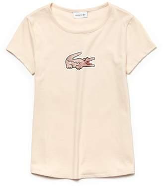 Lacoste (ラコステ) - Girls ワニプリント ジャージー クルーネックTシャツ