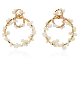 Lauren X Khoo Interlink 18K Gold, Diamond and Pearl Earrings