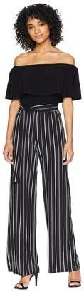 Bebe Stripe Crepe Jumpsuit Women's Jumpsuit & Rompers One Piece