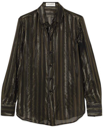 Saint Laurent Metallic Striped Silk-blend Chiffon Shirt - Black