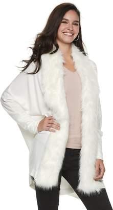 JLO by Jennifer Lopez Women's Faux-Fur Trim Dolman Cardigan
