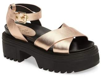 Shellys London Ankle Strap Platform Leather Sandal