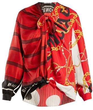 Balenciaga Printed Knot Blouse - Womens - Red Print