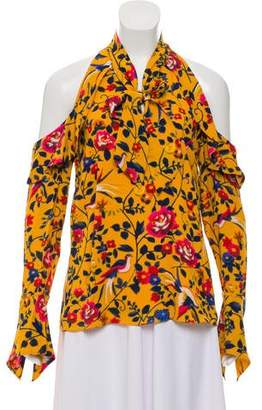 Tanya Taylor Floral Print Cold Shoulder Blouse w/ Tags