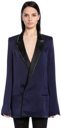 Haider Ackermann Double Breasted Satin Long Blazer