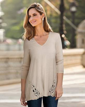 Together Crochet Lace Deatil Jersey Top