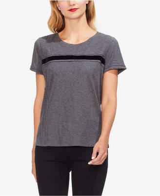 Vince Camuto Velvet-Stripe T-Shirt
