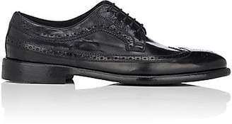 Barneys New York Men's Washed Leather Wingtip Bluchers - Black