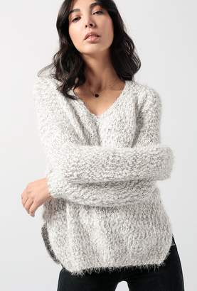 Azalea Two Tone V Neck Popcorn Sweater