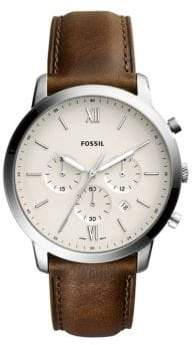 Fossil Neutra Chronograph Stainless Steel Brown Leather Strap Watch