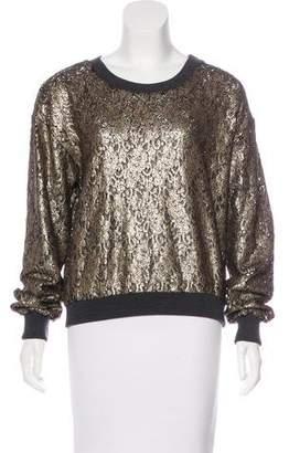 Peter Som Metallic Long Sleeve Sweater
