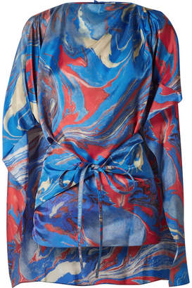 Rosie Assoulin Cape-effect Marbled Crepe De Chine Top - Blue