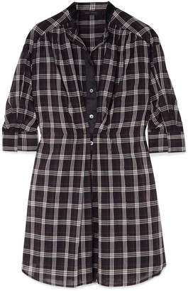 Marc Jacobs Satin-trimmed Checked Silk-voile Dress - Black
