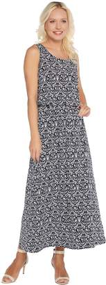Joan Rivers Classics Collection Joan Rivers Petite Length Printed Knit Maxi Dress with Pockets