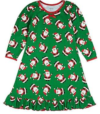 Sara's Prints KIDS' HOLIDAY-PRINT COTTON-BLEND NIGHTGOWN - GREEN SIZE 2 YRS