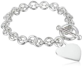 Zina Sterling Silver Contemporary Collection Heart Tag Bracelet