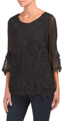 Illusion Mesh Sleeve Lace Top