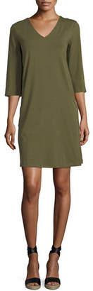 Eileen Fisher 3/4-Sleeve V-Neck Jersey Shift Dress