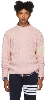 Thom Browne Pink Aran Cable 4-Bar Sweater