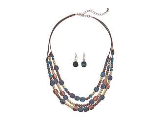M&F Western Multi-Strand Mixed Stone Necklace/Earrings Set
