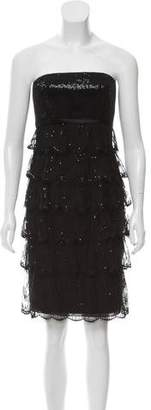 Carmen Marc Valvo Strapless Sequin Mini dress