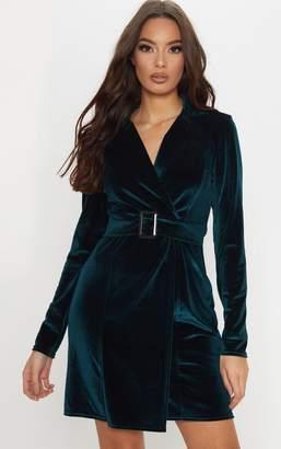 PrettyLittleThing Emerald Green Velvet Belted Blazer Dress