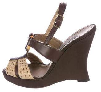 Alberta Ferretti Leather Wedge Sandals