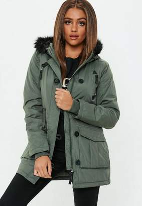 Missguided Khaki Fur Trim Pocket Detail Parka