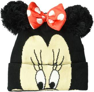 Disney Women's Minnie Mouse Big Face Cuff Winter Hat with Satin Bow
