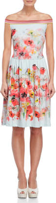 Save The Queen Floral Off-The-Shoulder Sheath Dress