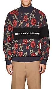 Oamc Men's Floral-Jacquard Cotton-Blend Sweater - Navy
