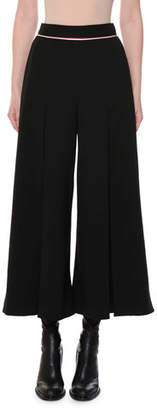 Stella McCartney Piped-Waist Inverted-Pleat Wide-Leg Wool Culotte Pants