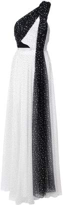 Prabal Gurung one shoulder pleated combo gown