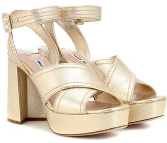 Miu Miu Leather platform sandals