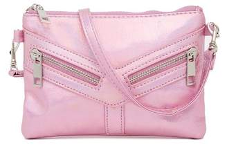 Capelli of New York Textured Hologram Zip Crossbody Bag (Little Girls & Big Girls)